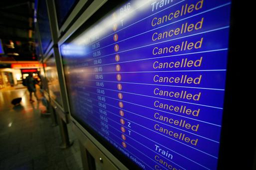 A flight schedule informs about cancelled Lufthansa flights during a nationwide protest of Lufthansa ground personnel at Frankfurt Airport on April 22, 2013 in Frankfurt, Germany. Workers are demanding pay raises and job guarantees and today's strike has forced Lufthansa to cancel approximately 1700 flights. (Photo by Ralph Orlowski/Getty Images)
