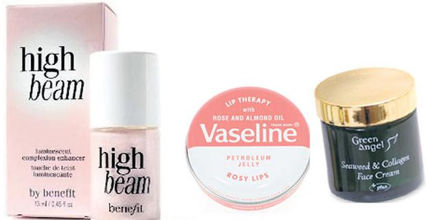 High Beam, €27.50, Lip Therapy €1.99 Vaseline, Green Angel Seaweed and Collagen Face Cream €28