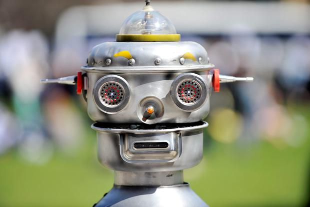 A robot in Parliament Square, central London, during a photocall for the Campaign to Stop Killer Robots.