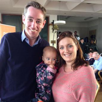 One-year-old Alannah Brophy with her mum Nicola and broadcaster Ryan Tu bridy