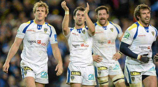 Four of Clermont's superstars, Aurélien Rougerie, Morgan Parra, Jamie Cudmore and Brock James celebrate beating Leinster earlier this season