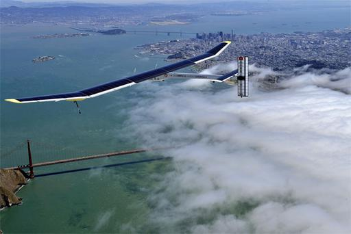 The solar-powered plane Solar Impulse is preparing for a journey around the world scheduled to begin on May 1. It is powered by about 12,000 photovoltaic cells that cover its massive wings. They allow it to charge its batteries and enable it to fly day and night without jet fuel. Above, the Solar Impulse glides over the Golden Gate Bridge in San Francisco.
