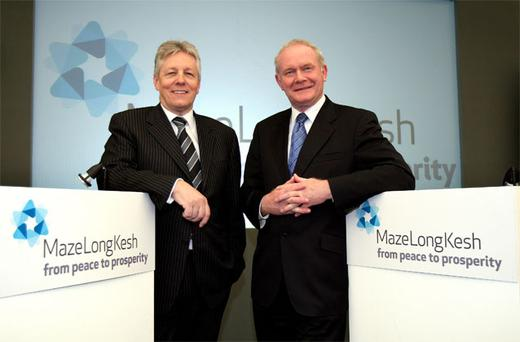 First Minister Peter Robinson and Deputy First Minister, Martin McGuinness, at a press preview on the site of the former Maze prison.