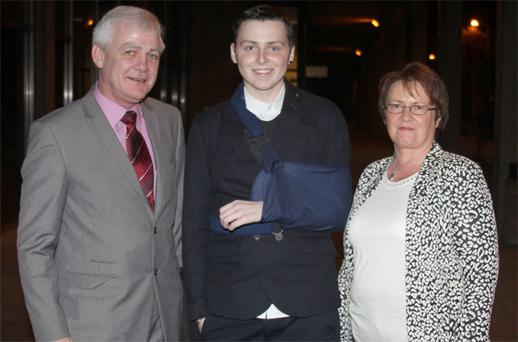 Finbar, Donal & Elma Walsh before their appearance on the Saturday Night Show this month
