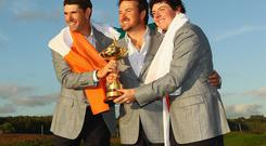 Padraig Harrington, Graeme McDowell and Rory McIlroy