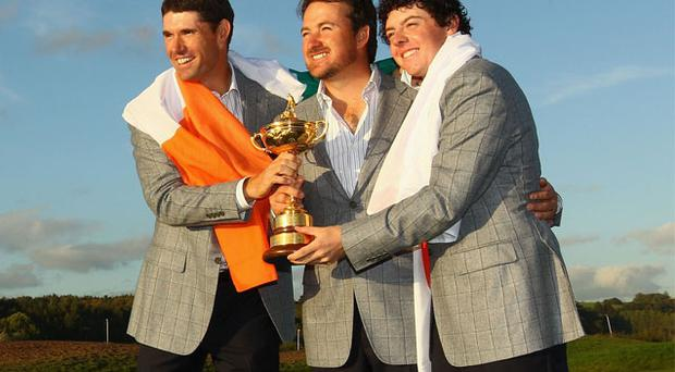 Padraig Harrington, Graeme McDowell and Rory McIlroy played together on the 2010 Ryder Cup team and all three have represented Ireland
