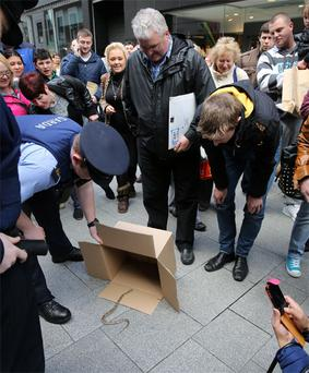 Gardai coax a snake into a cardboard box on Mary Street in Dublin