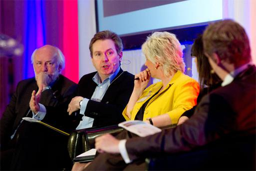 Irish Independent Editor Stephen Rae addressing an issue at the Public Relations Institute of Ireland's annual conference at Clyde Court, Dublin yesterday. Also pictured are Press Ombudsman John Horgan (left) and Angelina Fusco