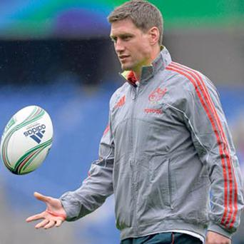 Ronan O'Gara takes a breather during the Munster captain's run in Montpellier yesterday