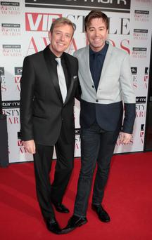 Alan Hughes and Karl Broderick arrive at the Peter Mark VIP Style Awards at the Marker Hotel Dublin. Picture: Brian McEvoy