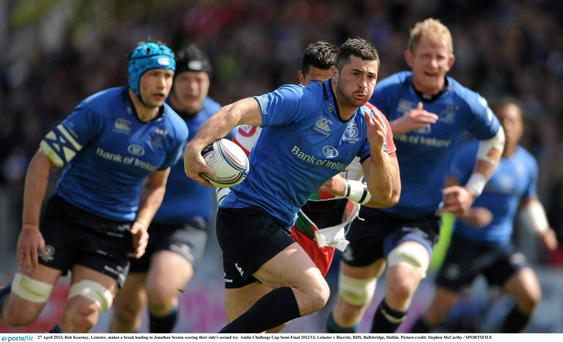 Rob Kearney, Leinster, makes a break leading to Jonathan Sexton scoring their side's second try