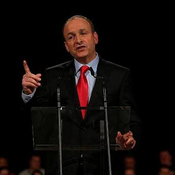 Fianna Fail Leader Micheal Martin addresses party members at the ard fheis in the RDS