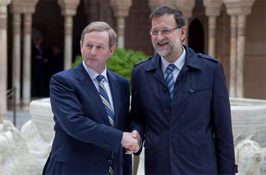 Taoiseach Enda Kenny and Spanish Prime Minister Mariano Rajoy at the Alhambra Palace in Granada, Spain