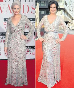 Sinead Kennedy (left) and Lucy Kennedy in the same dress at the style awards.