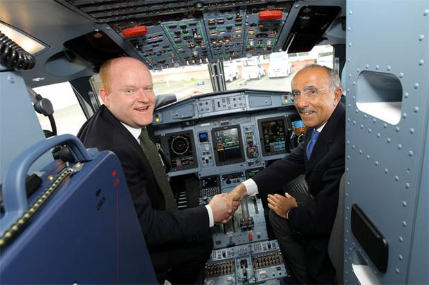 Sean Brogan, Aer Arann's interim chief executive (left), with ATR chief executive Filippo Bagnato in Toulouse, France, collecting the airline's first ATR 72-600 as part of a €144m, eight-plane deal with the French-based plane maker