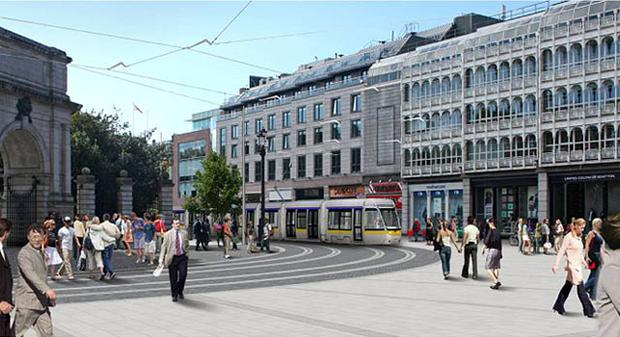 A computer-generated image of a tram at St Stephen's Green on the line linking the Green and Red Luas routes