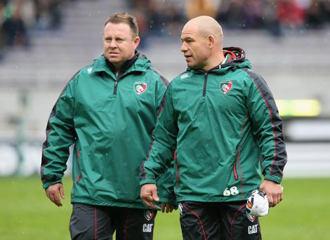 Richard Cockerill the Leicester director of rugby and assistant Matt O'Connor(L)