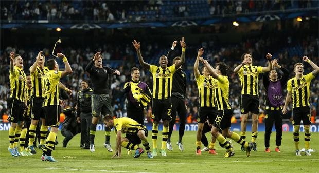 Borussia Dortmund players celebrate after the Champions League semi-final second leg.
