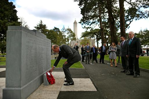 The Duke of Kent lays a wreath in Glasnevin Cemetery, Dublin.