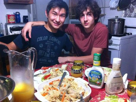 Dias Kadyrbayev, left, with Boston Marathon bombing suspect Dzhokhar Tsarnaev, at an unknown location.