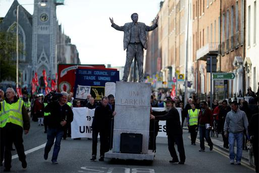 Seamus Hughes as Larkin in the annual May Daymarch in Dublin