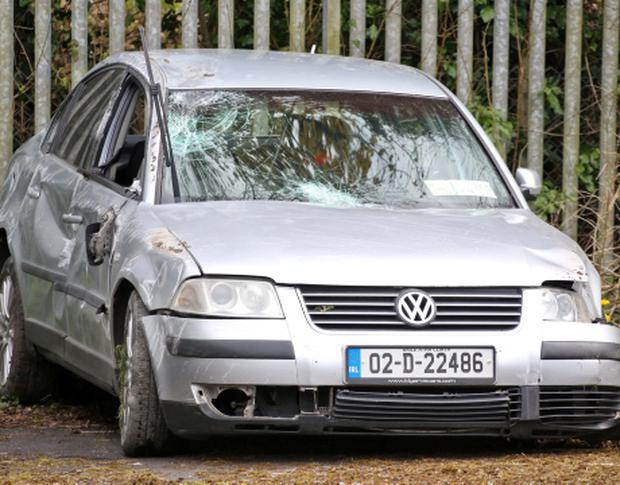 02/05/13 The car former Fianna Fail councillor and election candidate Ger Killally was driving when he was injured in a car crash after shots were fired. Photo: Collins