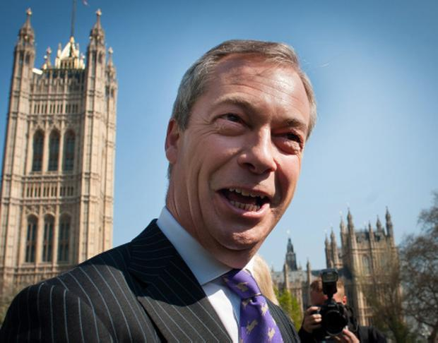 UKIP leader Nigel Farage arrives in Westminster after a successful night in the local council elections last night