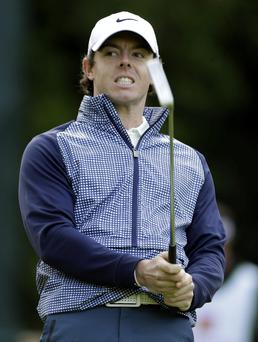 Rory McIlroy in action today during the second round of the Wells Fargo Championship golf tournament at Quail Hollow Club North Carolina