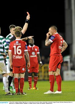 Sligo Rovers striker Anthony Elding is shown the red card by referee Alan Kelly