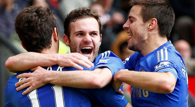 Chelsea's Juan Mata celebrates his goal against Manchester United last season
