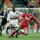 Paul Ince playing for Liverpool against against Man United