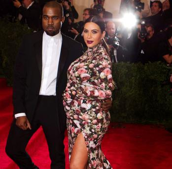 Kanye West and Kim Kardashian at the Met Ball.