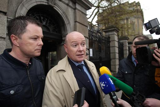 (Left - right) Oliver and Austin Stack, sons of Brian Stack, the only prison officer to be assassinated in the Republic, after they met Sinn Fein president Gerry Adams at Leinster House