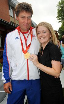 Andrew Simpson with his wife Leah