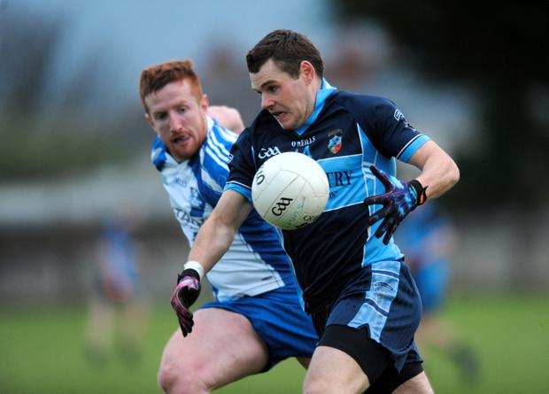 Kevin McManamon, St Judes, in action against Johnny McMahon, St Annes. Picture: Caroline Quinn