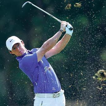 Rory McIlroy plays his second shot on the 10th hole during round two of the Players Championship