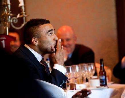 Munster and Irish international star Simon Zebo reacts after winning an award at the Munster Awards in Cork. Photo: Mark Condren