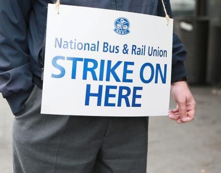 Bus Eireann drivers picket Bus Aras in Dublin. Photo:Arthur Carron/Collins