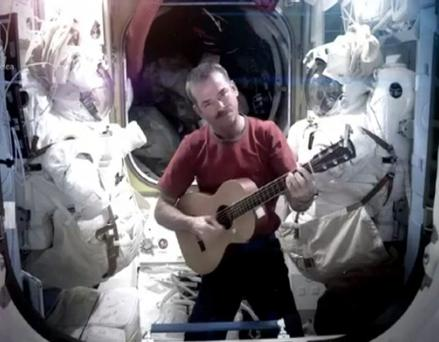 Commander Chris Hadfield singing on the International Space Station. Photo: PA