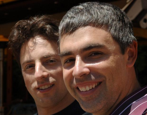 Larry Page right, with Sergey Brin of Google