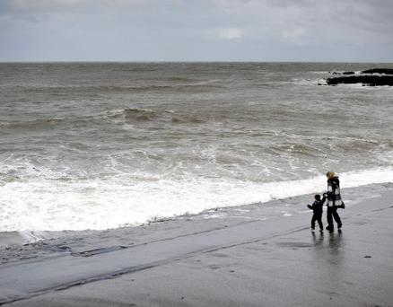 A bleak day on the seaside at Porthcawl in south Wales as winds of up to 65mph battered coastlines