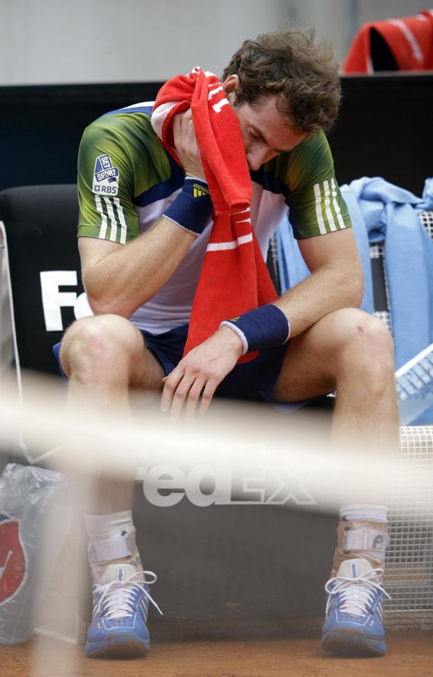 Britain's Andy Murray wipes his face during a pause of a match with Spain's Marcel Granollers during their match at the Italian Open tennis tournament in Rome