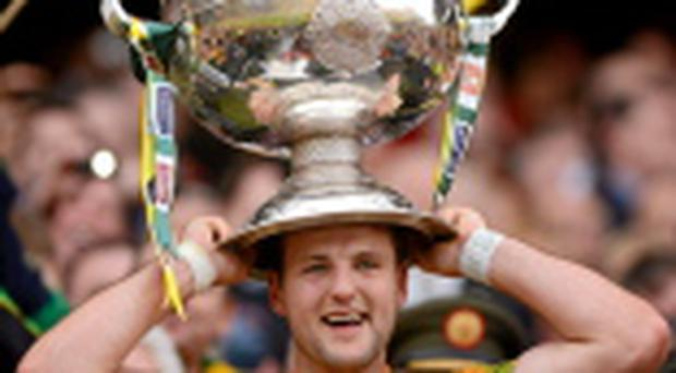 Donegal's Michael Murphy lifts the Sam Maguire Cup last year. Photo: Sportsfile