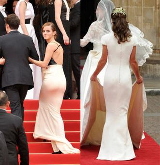 Emma drew comparisons with Pippa Middleton on the red carpet at Cannes