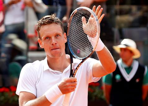 Tomas Berdych of Czech Republic celebrates after defeating Novak Djokovic of Serbia during their men's singles quarter final match at the Rome Masters tennis tournament May 17, 2013. REUTERS/Tony Gentile