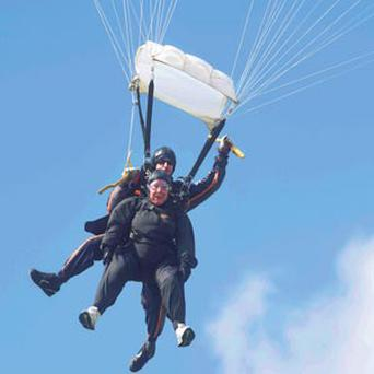 Sister Patricia Wall during her big leap with Dean Cocozza.