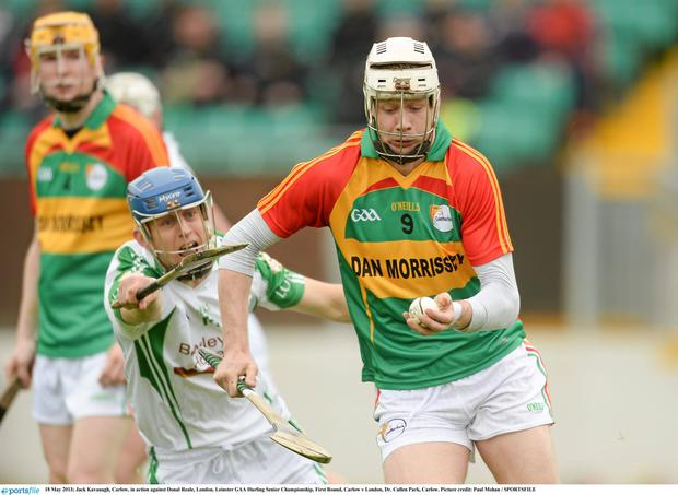 Jack Kavanagh, Carlow, in action against Donal Reale, London.