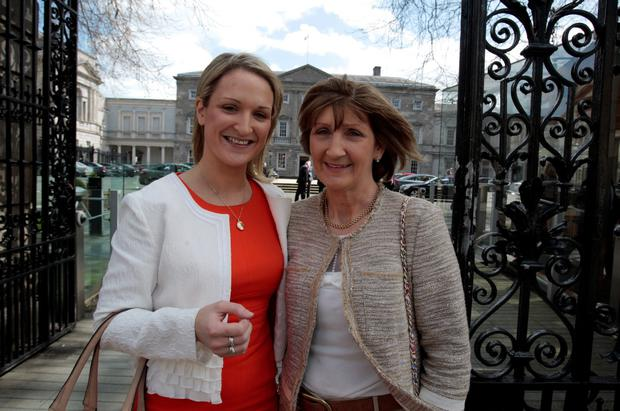 Helen McEntee,Fine Gael's newest deputy with her mum Kathleen on her first day at Leinster House