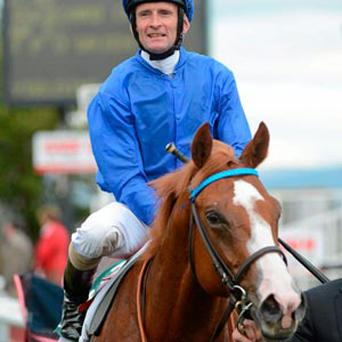 Jockey Kevin Manning after winning the Goffs Vincent O' Brien Stakes aboard Dawn Approach