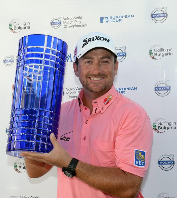 Graeme McDowell of Northern Ireland with the winners trophy after the final of the Volvo World Match Play Championship at Thracian Cliffs Golf & Beach Resort, Bulgaria
